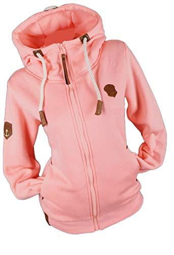 xy Damen Sweat Jacke Kapuze Fleece gefüttert Hoodie Übergangsjacke Uni S - 3XL (Rosa, l)