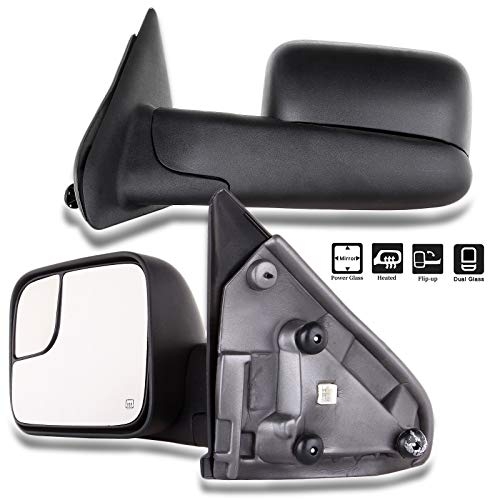 CTCAUTO Towing Mirrors Fit for 2002-2008 Dodge Ram 1500 2003-2009 Dodge Ram 2500/3500 XL Tow Mirrors with Driver and Passenger Side Power Heated Manual Flip Up Textured