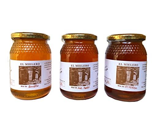 Miel de abeja Pura 100{b8eb6a02b18a93381199373a36d9fea43a7ce56c0a6d08fc2ba455d79e9399e0} - Pack 3x500 gr - Romero, Espliego y Mil Flores. Origen La Alcarria - Guadalajara - España