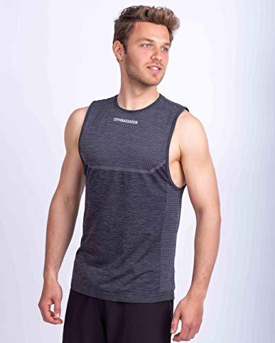 Gymbassador Camiseta deportiva para hombre sostenible, sin mangas, sin costuras, funcional para...