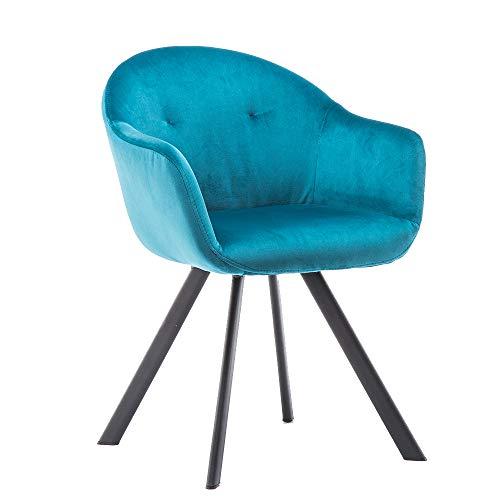 Marca Amazon -Movian Elbe - Silla de comedor con botones, azul