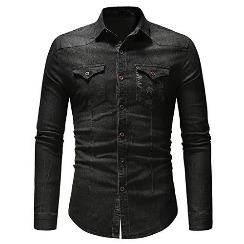 Herren Jeanshemden Langarm Casual Mode Slim Fit Jeanshemd Knopfleiste Western Klassisch Hemd Arbeitshemden Retro Elegant Atmungsaktiv Bequem Shirt Tops A-Black XL