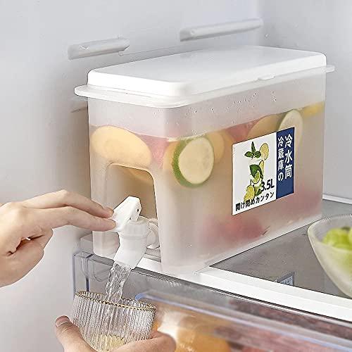 Jarra de agua de 3,5 l con grifo Jarra de jugo de limón, dispensador de bebidas de agua delgado con grifo, refrigeradores domésticos de gran capacidad, hervidores de agua fría, cubos fríos (blanco)