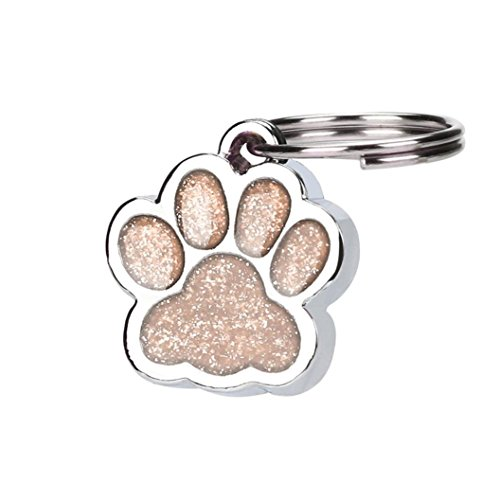 YJYdada Personalised Engraved Glitter Paw Print Tag Dog Cat Pet ID Tags Reflective (Pink)