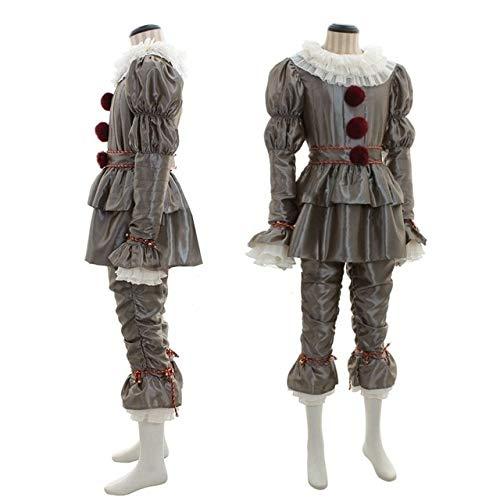 AHJSN Joker Cosplay Costume con Maschera Horror Clown Halloween Party Costume Prop Uomini-XXXL Grigio