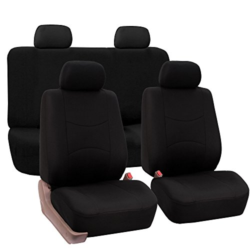 FH Group Universal Fit Full Set Flat Cloth Fabric Car Seat Cover, (Black) (FH-FB050114, Fit Most...