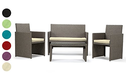 Rattan4Life Sitzgruppe Neapel, 4-teilig Deluxe Polyrattan Gartenmöbel Set, Sofa/Lounge/Gartengarnitur/Kissenbezüge, Rattan grau/braun, Bezug schwarz