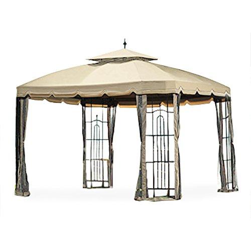 Garden Winds Big Lots Bay Window Gazebo Standard 350 Replacement Canopy, Beige