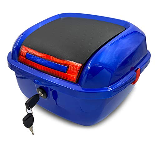 Motorcycle Tour Tail Box Scooter Trunk Luggage Top Lock Storage Carrier Case with Soft backrest and Quick-Release System - Can Store Full Helmet