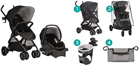 Evenflo Sibby Travel System, Charcoal with Stroller Accessories Starter Kit