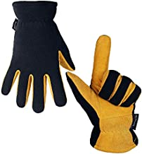 Snow Gloves Cold Proof Deerskin Suede Leather Winter Thermal Glove Warm Polar Fleece Heatlok Insulated Lining - Hands Warmer in Cold Weather for Women and Men (Tan-Black,S)