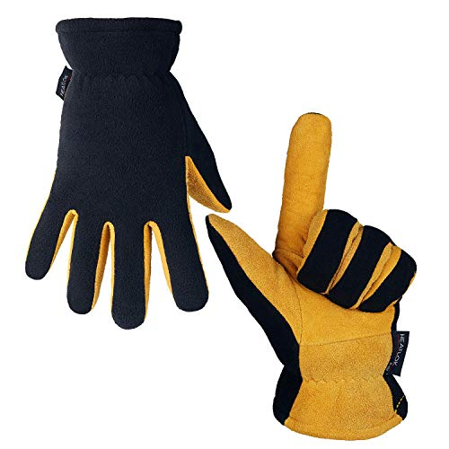OZERO Winter Work Gloves Cold Proof Deerskin Suede Leather Thermal Glove Warm Polar Fleece Heatlok Insulated Cotton - Hands Warmer in Cold Weather for Women and Men (Tan-Black,M)