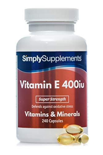 Vitamina E 400iu - ¡Bote para 8 meses! - 240 Cápsulas - SimplySupplements