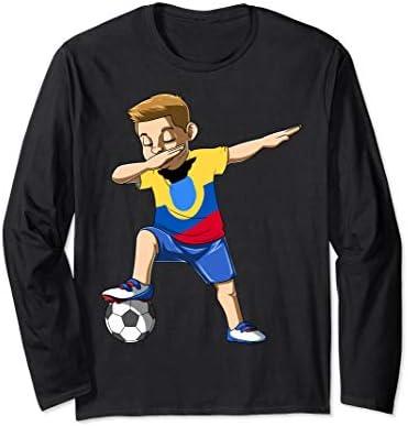 Dabbing Soccer Boy Ecuador Jersey Ecuadorian Long Sleeve T Shirt product image