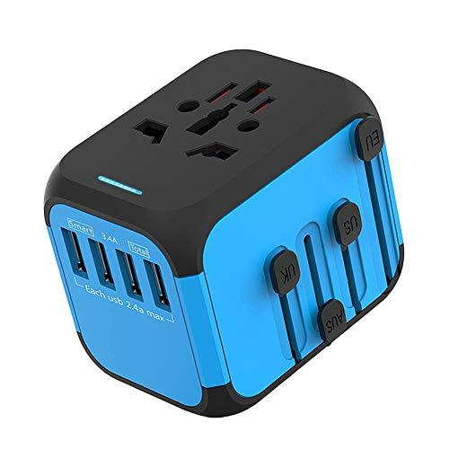 Running Bulls Adaptador de Corriente de Viaje USB Universal,3 Puertos USB Y de Tipo C Cargador de Pared Internacional Universal Enchufe AC Enchufe AC 8 Pines Multipaís (Azul 4)