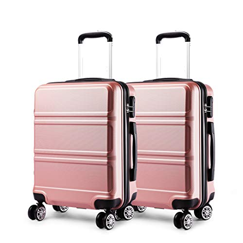 Kono Luggage Set 2 Pieces Light Weight Hard Shell ABS Suitcase 4 Wheel Hand Luggage Cabin Travel Case (Nude+Nude)