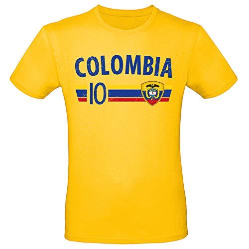 Shirt-Panda Fußball WM T-Shirt · Fan Artikel · Nummer 10 · Passend zur Weltmeisterschaft · Nationalmannschaft Länder Trikot Jersey für 2022 · Herren Damen Kinder · Kolumbien Colombia L