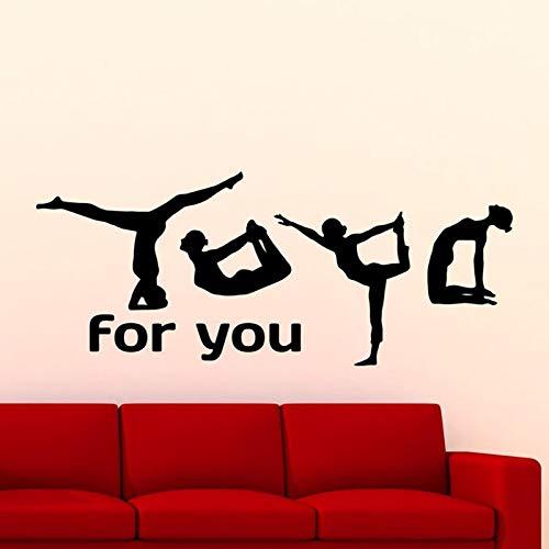 Yoga te da calcomanías de pared Yoga Pose Chicas Fitness Gimnasio Deportes Decoración de interiores Papel tapiz creativo Papel tapiz Puertas y ventanas Vinilos adhesivos artísticos