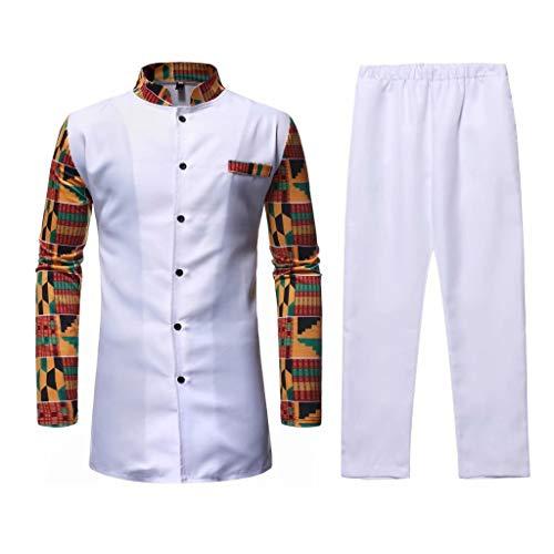 KISSQIQI Men's 2 Pieces African Dashiki Tracksuits Print Outfits Suit Long Sleeve Button Down Shirts+Pants Sets White
