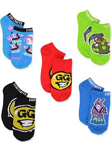Fortnite Battle Royale – Pacote com 5 meias invisíveis para meninos e meninas, Blue/Multi, Shoe Size: 4-10