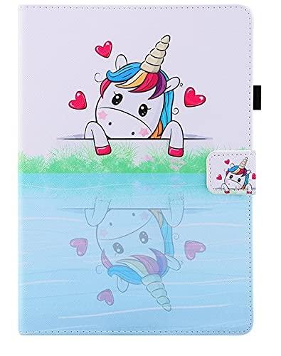 Funda universal para tablet de 10 pulgadas, con soporte universal para Tab de 10', diseño de caballo de unicornio, color azul y blanco