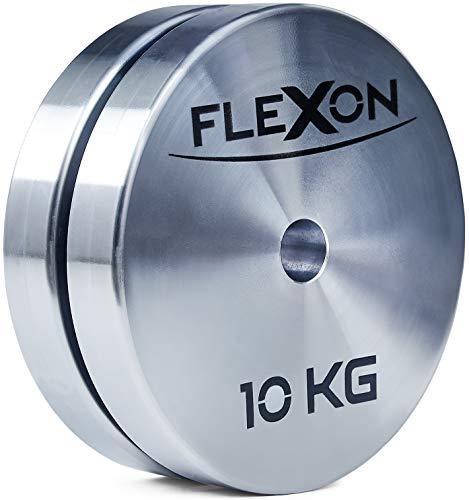 FLEXON  Dischi Palestra 10kg, 2 Dischi (Coppia), 20kg Totali, Dischi 10kg, Pesi per bilanciere, Foro 28mm, Nuovo Design, 100% Made in Italy (28mm)