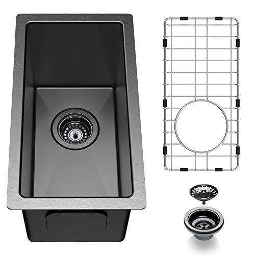 Bar Sink 10 Inch, Barhon Gun Black Undermount Kitchen Sink, 16 Gauge Stainless Steel Single Bowl RV Sinks, with Drain and Grid