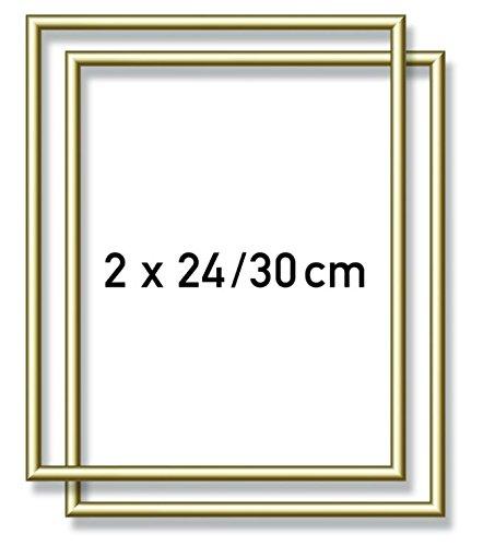 Schipper 605200762 - Malen nach Zahlen - 2x Alurahmen 24 x 30 cm, goldglänzend ohne Glas für Ihr Kunstwerk, einfache Selbstmontage, Gold