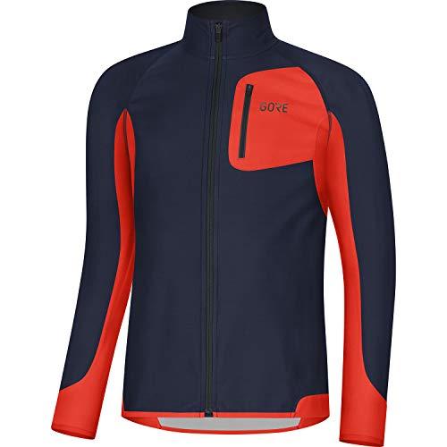 GORE WEAR Camiseta de manga larga de running para hombre, R3, Partial GORE WINDSTOPPER, XL, Azul marino/Rojo fuego