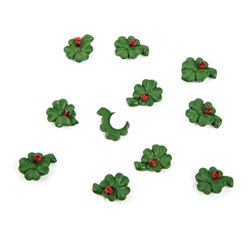 12 kleine mini KLEEBLATT lieveheersbeestje groen rood 1,5 cm geluksbrenger strooidecoratie oudejaarsavond feesten Kerstmis tafeldecoratie strooidecoratie