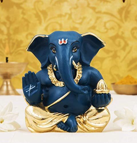 ADIYOGI India - Tablero de instrumentos (cerámica, 5 x 3 x 4 cm), color dorado y azul oscuro