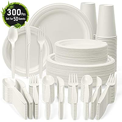 Disposable Dinnerware Set 300 Pcs - Safe Compostable Dinnerware for 50 Guests - Recycled & Eco-friendly Tableware - Includes Plates, Forks, Spoons, Knives, 16Oz Cups - Compostable Sugarcane Cutlery