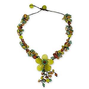 Serpentine and Carnelian Adjustable Floral Y-Necklace