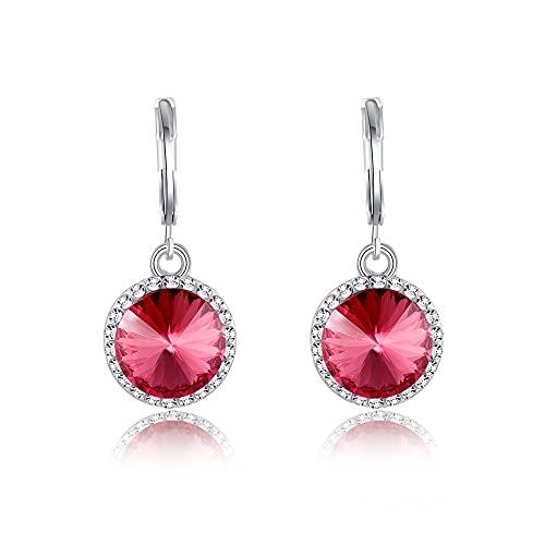 Boucles d'oreilles Dormeuses Boucles d'oreilles Pendantes Cristal Rouge Femme