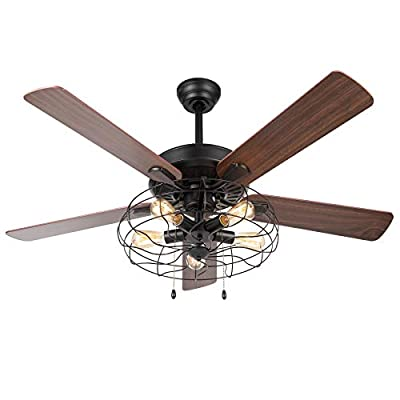 VONLUCE 52'' Industrial Ceiling Fan with Lights, 5 Light Farmhouse Ceiling Fan Rustic with Cage Shade & 5 Cherry and Walnut Blades, Black Cage Ceiling Fan Light Fixture for Kitchen Living Room Bedroom from
