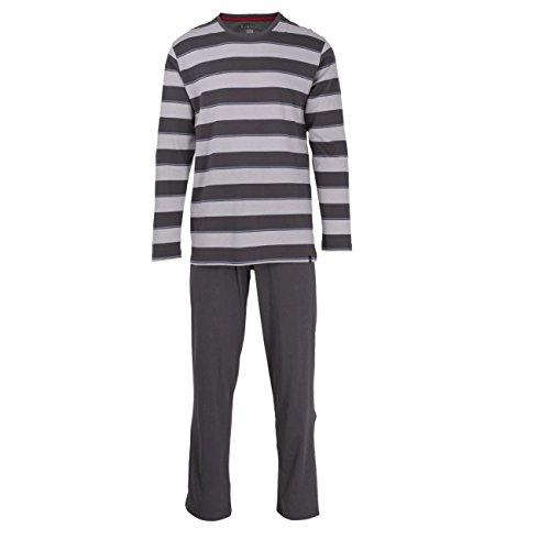 Bugatti Herren Pyjama, Langarm, Schlafanzug, Shirt und Hose, Baumwolle, Single Jersey, grau, Melange 54