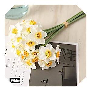 Dreamture Artificial Narcissus Flower Bouquet Home Decoration Fake Desktop Flowers Wedding Scene Decor Daffodil-White-