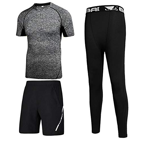 FDSHOSFH Men's Fitness 2-Piece Suit, Breathable, Sweat-Wicking, Quick-Drying, Underwear Suit, Men's Running Sports, Stretch Suit-Dark Gray 03_XL