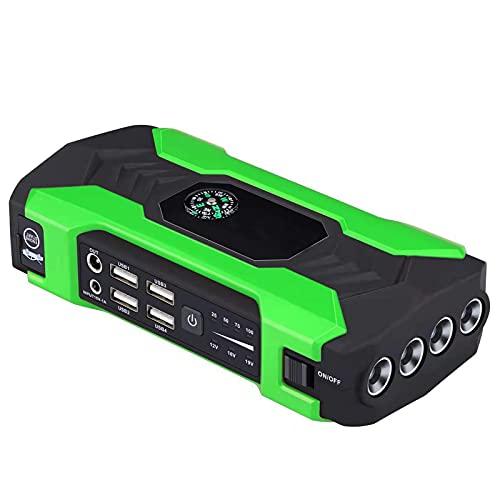 Arranque automático de emergencia para coche, 12 V, alimentador móvil 22000 mAh 400 A, arranque portátil, batería de emergencia para coche, verde