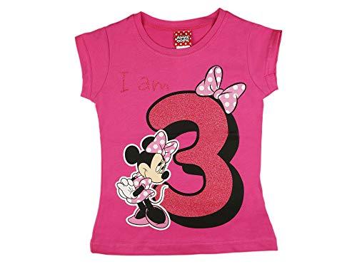 Mädchen Baby Kinder dritter Geburtstag Kurzarm T-Shirt 3 Jahr Baumwolle Birthday Outfit GRÖSSE 98 104 Minnie Mouse Disney Design Glitzer Weiss oder Rosa Babyshirt Oberteil Farbe Rosa, Größe 104
