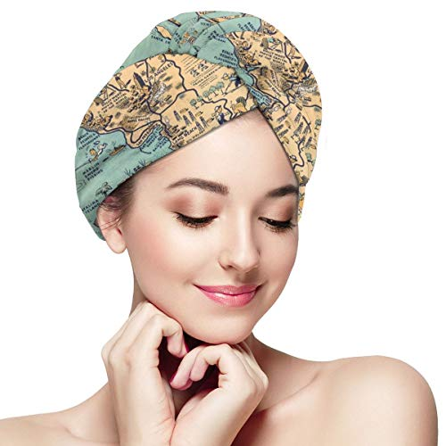 Old Los Angeles Maps Beach Microfiber Hair Towel Wrap for Women Super Absorbent Quick Dry Hair Turban for Drying Curly Spa Towel 28 inch X 11 inch