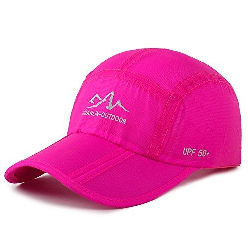 Estwell Baseball Cap, Basecap Herren Damen Baseball Kappen Baseballmütze Faltbarer Verstellbar Baseballkappe für Draussen, Sport und Reisen(B-rosa)