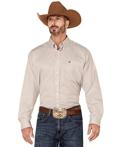 Cinch Men's Tencel Classic Fit Long Sleeve Shirt, Khaki, L