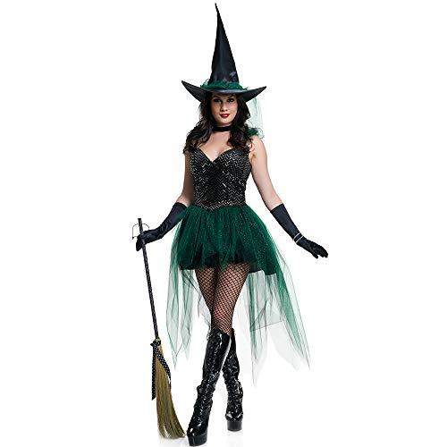 LDSSP Bruja Disfraz De Halloween Bruja Disfraz Bruja Adulta Disfraz Bruja Malvada Cosplay XL A