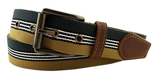 TigerTie - Cinturón de tela de alta calidad con hebilla de acero inoxidable y aplicaciones de piel auténtica, ancho de 35 mm Verde ocre blanco, negro. 100 cm bundweite = ca. 115 cm longitud total