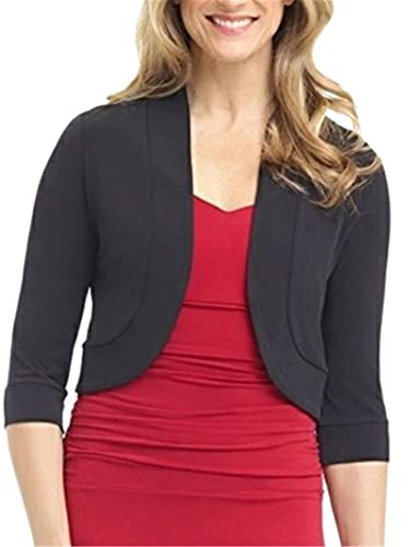 Women's Bolero Shrug Cropped Cardigan 3/4 Sleeve Open Front Short Cardigan Solid Short Crop Tops for Dress (Black, X-Large)