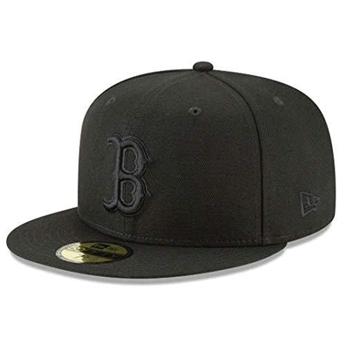 New Era 59Fifty Hat MLB Basic Boston Red Sox Black/Black Fitted Baseball Cap (7 1/8)
