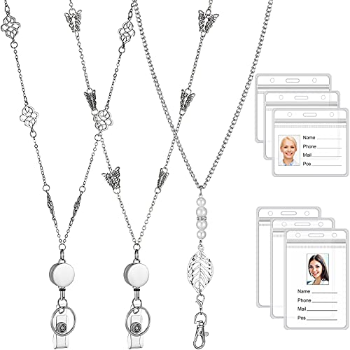 9 Pieces Badge Lanyard Necklaces Set, 3 Retractable Badge Reel Lanyard Women Stainless Steel Chain with Buckle and 6 Transparent Waterproof ID Holder for Nurse Office Worker, Butterfly, Leaf Shape