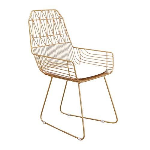 SPRINGHUA Silla de comedor elegante con soporte para respaldo y apoyo, silla moderna de ocio, metal dorado para sillas de cocina (color: dorado, tamaño: 52 x 52 x 92 cm)
