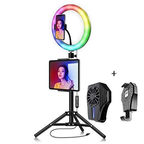 AJH 10inch RGB Ring Light with Stand and Phone Holder, Phone USB Cooler (Mobile Phone Radiator) Colorful USB Beauty Video Studio Photo Circle Lamp